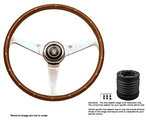 Nardi Anni 50 380mm (14.96 Inches) Wood Steering Wheel w/Polished Spokes and MOMO Hub Adapter for Mitsubishi Evo 8-9 Part # 5038.39.3000 + 6116