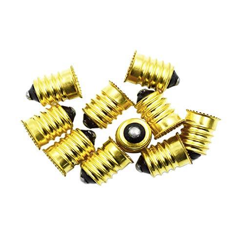 TOUHIA 10pcs E14 to E12 Adapter Converter Lamp Adapter Golden, European Base to Candelabra Screw Light Socket Reducer