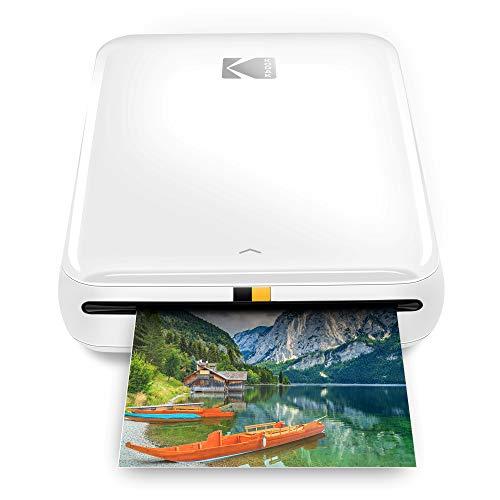 Zink Kodak Step Printer | ZINK Zero Ink Technology Wireless Mobile Photo Printer for Any Bluetooth or NFC Smart Device (White) Sticker Edition, 2x3 (RODMP20KIT9W)