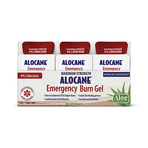 ALOCANE Emergency Burn Gel Maximum Strength 4% Lidocaine Individual Use Packets,Commercial Grade, for Restaurants, Manufacturing, Other Heat Related Work environments, for Commercial Use Only, 24 Ct