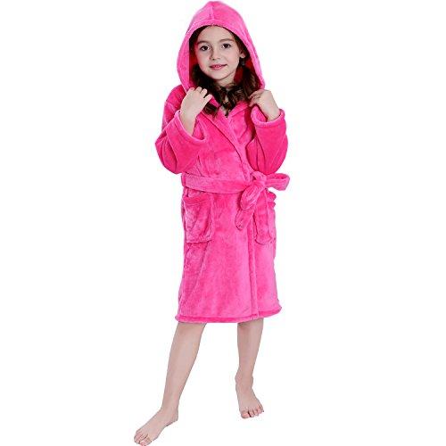 Hooded Herringbone Girl's Fleece Pink Soft Spa Kimono Long Robe,Kids Comfy Sleepwear Bathrobe(10-12 Year)