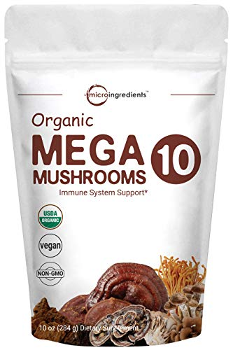 Sustainably US Grown, Organic Mega 10 Mushroom Complex Powder for Immune System Booster, 10 Ounce (284 Grams), Chaga Mushroom, Lions Mane, Turkey Tail, Cordyceps, Reishi Mushroom & More, Vegan