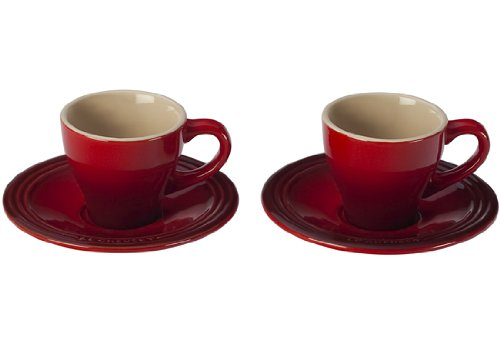 Le Creuset PG8001-0967 Stoneware Espresso Cups and Saucers, Set of 2, Cerise