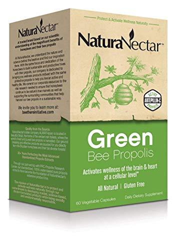 NaturaNectar Natural Green Bee Propolis – Nootropic Brain Supplement – Focus, Memory & Immune Support- Ultra Pure Flavonoids, Premium Brazilian Green Propolis, Caffeine Free (60 Capsules)