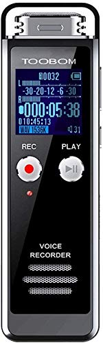 8GB Digital Voice Recorder for Lectures - TOOBOM Voice Activated Recorder with Playback 1536KPBS Audio Recording Device Password Protection Mini Tape With MP3 Player for Lectures/Meetings/Interviews/C