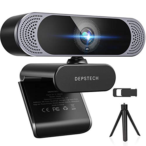 4K Webcam, 2021 DEPSTECH HD 8MP Sony Autofocus Webcam with Microphone, Privacy Cover and Tripod, Plug and Play USB Computer Web Camera for Pro Streaming/Online Teaching/Video Conferencing/Zoom/Skype