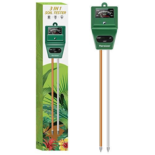 Kensizer Soil Tester, 3-in-1 Soil Moisture/Light/pH Meter, Gardening Lawn Farm Test Kit Tool, Digital Plant Probe, Water Hydrometer Sunlight Tester for Indoor Outdoor, No Battery Required