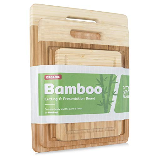 K BASIX Bamboo Cutting Board Set with Groove (3-Pcs)-Premium Quality Organic Wood Cutting Board for Kitchen-Chopping Board for Meat (Butcher Block) & Veggies-Anti Microbial 100% Natural Serving Trays
