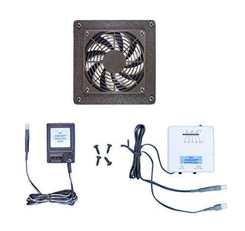 Home Theater or Computer Cabinet Cooling Fan with Thermostat & Multi-Speed Control