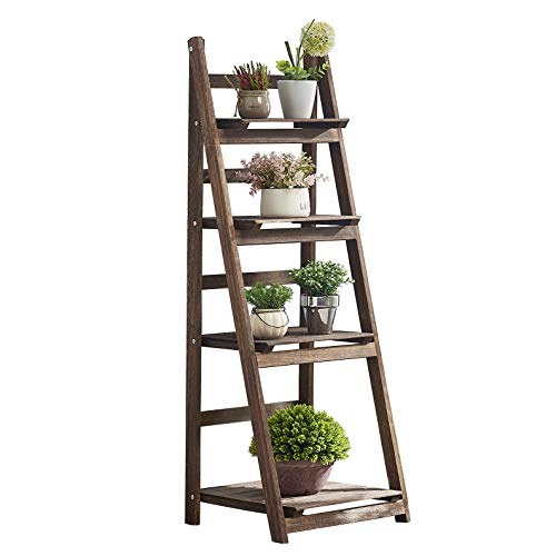 RHF 44' Foldable Plant Shelf,Plant Stand,Indoor Flower Pot Holder,Flower Pot Ladder,Folding A Frame Display Shelf,Patio Rustic Wood Stand with Shelves,4 Tier Stand Outdoor,Pot Rack, Free Standing