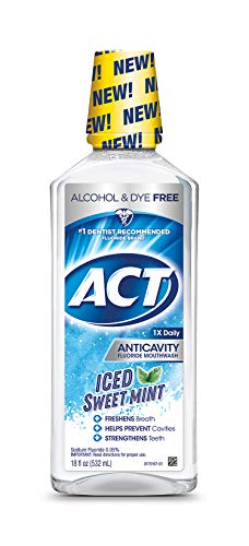 ACT Anticavity Alcohol Free Fluoride Mouthwash Iced Sweet Mint, 18 Ounce