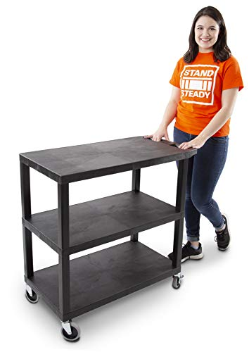 Stand Steady Flat Top Utility Cart by Tubstr | Heavy Duty Service Cart Supports 400 lbs. | Three Shelf Multipurpose Cart Perfect for Home, Garage, Catering, Warehouse & More! (Black / 35 x 18)