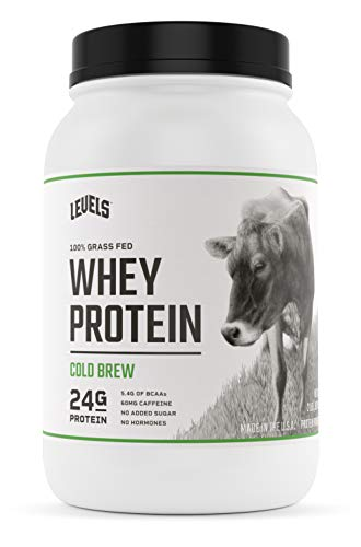 Levels 100% Grass Fed Whey Protein, No GMOs, Cold Brew, 2LB