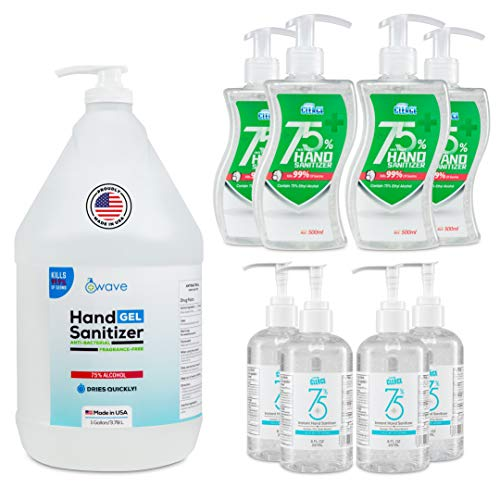 Hand Sanitizer Home & Small Office Multi Pack | Advanced No-Rinse Gel | 75% Alcohol | 1 Gallon Made in USA | 4 Pack of 16.9 Oz Bottles, 4 Pack of 8 Oz Bottles