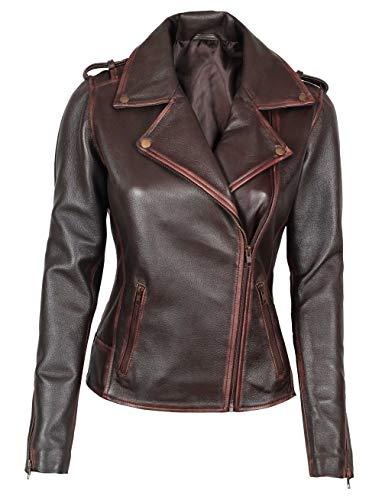 Fjackets Leather Jackets for Women - Diatressed Lambskin Asymmetrical Brown Leather Jacket Womens | [1300886], Kristen 2XL