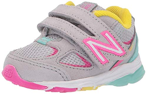 New Balance Kid's 888 V2 Hook and Loop Running Shoe, Grey/Rainbow, 8 M US Toddler
