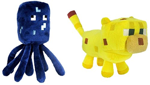 Set Of 2 Ocelot And Squid Minecraft Animal 7' Plush Toy Doll