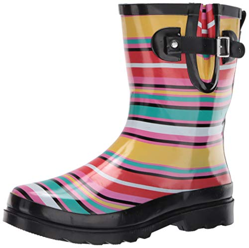 Western Chief Women's Waterproof Mid Rain Boot, Solstice Stripe, 10