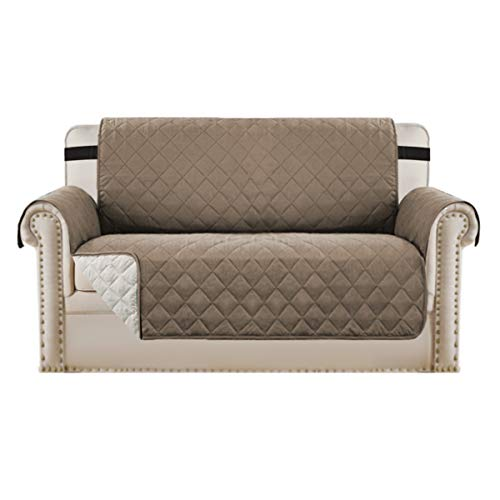 Loveseat Covers Loveseat Slipcover Reversible Quilted Furniture Protector with Elastic Straps Slip Resistant Furniture Cover for Dogs Seat Width Up to 46' (Loveseat, Taupe/Beige)