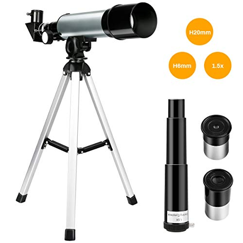 Jhua Telescope for Kids, 50mm Refractor Telescope for Kids and Beginner Adults, 360mm Focal Length DIY Educational Kids Telescope, Portable Travel Telescope with Tripod Eyepiece Finder Scope