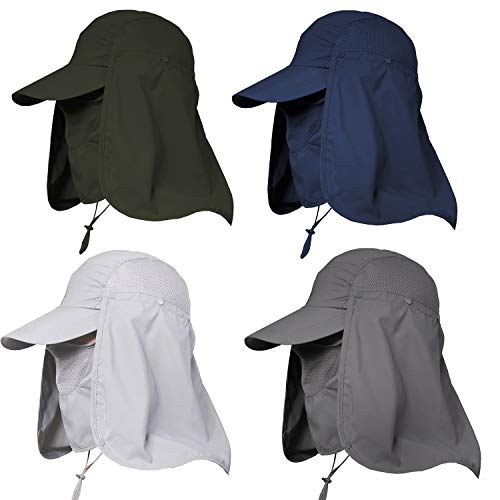 Jormatt 4 Pack Unisex UV Protection Outdoor Wide Brim Sun Hat UPF 50+ with Flap Neck Cover Foldable Fishing Safari Cap,4 Pack