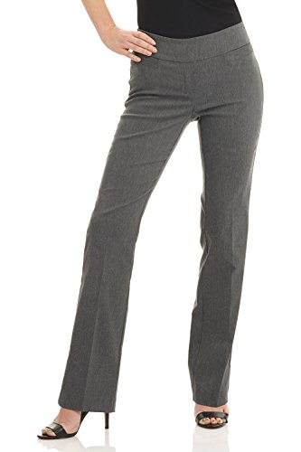 Rekucci Women's Ease into Comfort Boot Cut Pant (2,Charcoal)