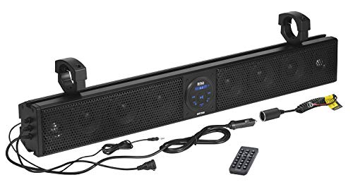 BOSS Audio Systems BRT36A ATV UTV Sound Bar System - 36 Inches Wide, IPX5 Rated Weatherproof, Bluetooth, Amplified, 4-inch Speakers, 1 Inch Tweeters, USB Port, Easy Installation for 12 Volt Vehicles