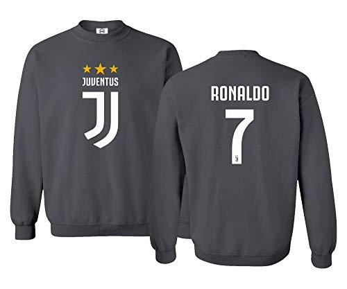Spark Apparel Soccer Shirt #7 Cristiano Ronaldo Juve CR7 Unisex Sweatshirt Crewneck Sweater (Gray, Small)
