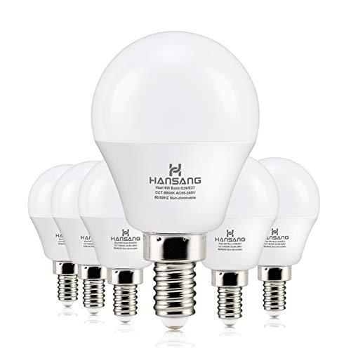 6 watt(60w Equivalent) Hansang LED Bulbs Light E12 Screw Base Candelabra Round Bulb 600 Lumen,High CRI,Daylight 5000K,G14 Decorative Bulb Non dimmable for Ceiling Fan 120V Pack of 6 (Daylight 5000K)