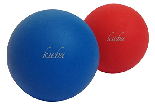 Kieba Massage Lacrosse Balls for Myofascial Release, Trigger Point Therapy, Muscle Knots, and Yoga Therapy. Set of 2 Firm Balls (Blue and Red)