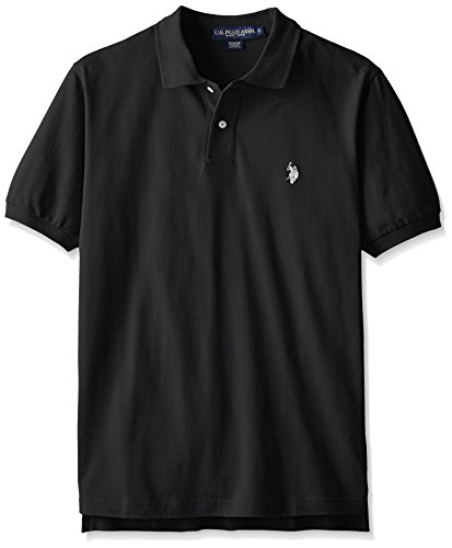 U.S. Polo Assn. Mens Classic Small Pony Solid Pique Polo Shirt - Black, White Logo, Large