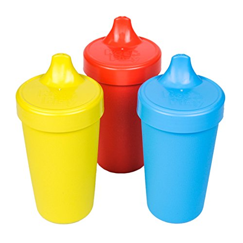 RE-PLAY Made in USA 3pk - 10 oz. No Spill Sippy Cups   Yellow, Red, Sky Blue   Eco Friendly Heavyweight Recycled Milk Jugs   Virtually Indestructible  BPA Free   Preschool