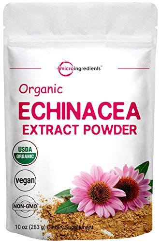 Micro Ingredients Organic Echinacea Extract Powder, 10 Ounce, Pure Echinacea Supplement, Strongly Support Immune System and Boosts Immune Function, Non-GMO and Vegan Friendly