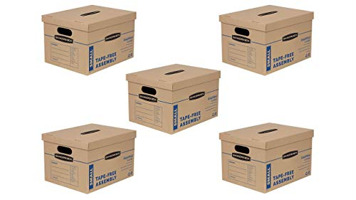 Bankers Box SmoothMove Classic Moving Boxes, Tape-Free Assembly, Easy Carry Handles, Small, 15 x 12 x 10 Inches, (7714901)- 5 Sets of 10pk