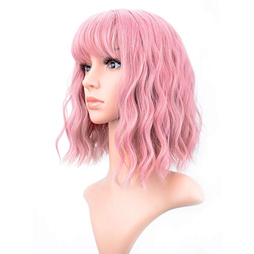 VCKOVCKO Pastel Wavy Wig With Air Bangs Women's Short Bob Pink Wig Curly Wavy Shoulder Length Pastel Bob Synthetic Cosplay Wig for Girl Colorful Costume Wigs(12', Pink)