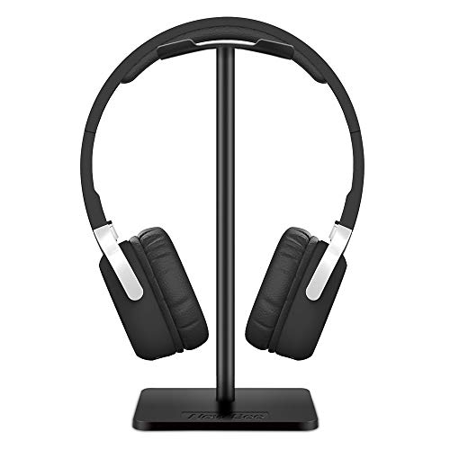 Headphone Stand Headset Holder New Bee Earphone Stand with Aluminum Supporting Bar Flexible Headrest ABS Solid Base for All Headphones Size (Black)