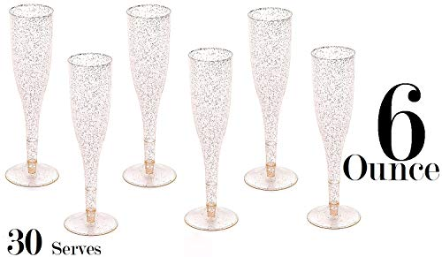 Gold Glitter Plastic Classicware Glass Like Champagne Wedding Parties Toasting Flutes (1 Box = Quantity 30)