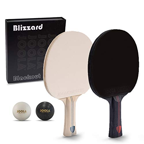 JOOLA Blizzard & Blackout - Competition Ping Pong Paddle Set - Includes 2 Table Tennis Rackets, 2 Ping Pong Balls, Storage Box, and a Winner's Gold Medal - Indoor and Outdoor Compatible