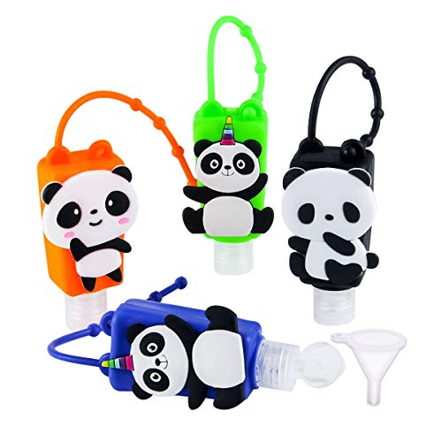 Kids Empty Hand Sanitizer Holder Keychain Carrier Travel Size Bottle with Silicone Case Leak Proof Refillable Portable Containers, Flip Cap, Liquid Soap, Lotion (Panda)