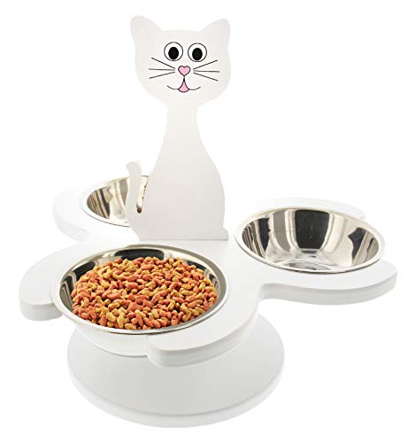 Etna Pet Store Elevated Cat Bowls - This Wooden, Raised Pet Feeder Promotes Better Digestion and is Easy on The Joints - Multiple Cat Feeder with 3 Removable Cat Bowls for Food and Water - White