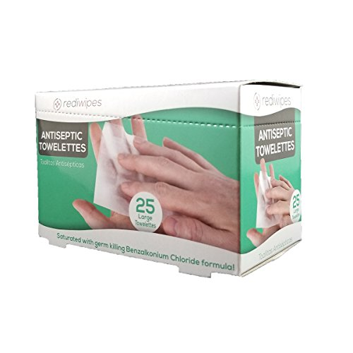 25 Large Antiseptic Wipes Individually Packaged Towelettes BZK Benzalkonium Chloride (Non Alcohol) with Dispenser Box great for first aid cabinets
