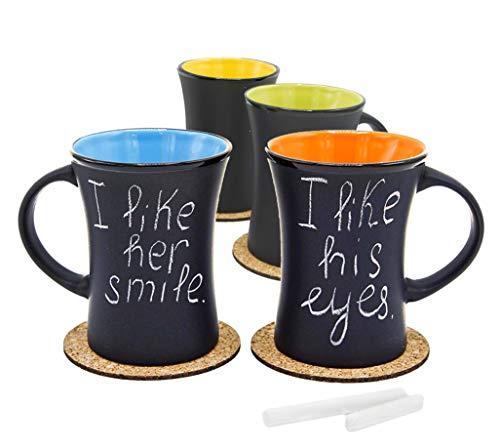 ECODESIGN-US Diner Flared Coffee Tea Cup - Set of 4 - Ceramic 8 oz Matte Black - w/Cork Coasters & Chalk