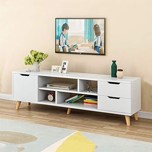Novania Entertainment TV Stands Center, Modern Wooden Farmhouse Studio Collection Universal Television Media Console for TV's up to 65', Living Room Storage Shelves Table with 3 Storage Cabinets