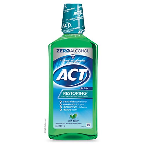 ACT Restoring Anticavity Fluoride Mouthwash, Mint Burst, 33.8 Fl Oz