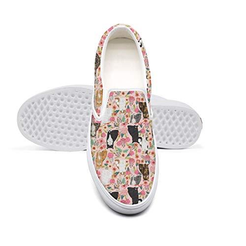 Beautiful Women Lazy Canvas Slip-On Shoes cat Florals cat Love Cute SportsSneaker Shoes