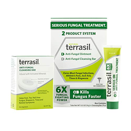Terrasil Anti-fungal Treatment Kit - 6X Faster Healing, Natural Soothing Clotrimazole Ointment for Fungal Infections (14gm Tube MAX + Cleansing Soap Bar)