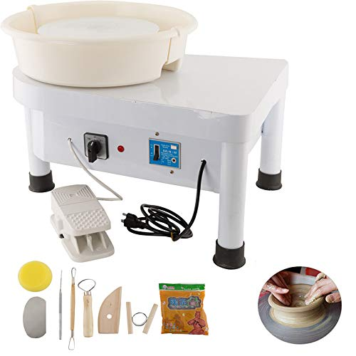 Tuntrol Pottery Forming Machine Ceramic Machine 350W 25CM with Foot Pedal and Detachable Basin for Work Clay Art Craft DIY
