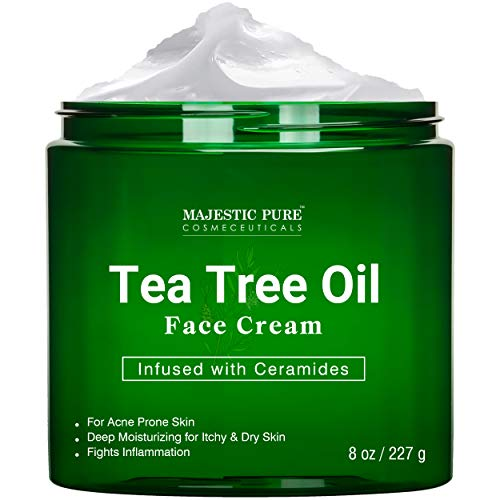 Tea Tree Oil Face Cream by Majestic Pure - Therapeutic Grade, Infused with Ceramides, Fights Acne and Fungus - Soothes Acne Scars, Moisturizing, 8 oz