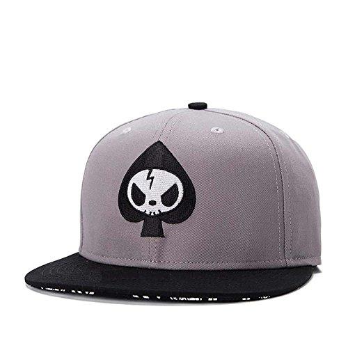 Quanhaigou Men's Spade Embroidery Snapback, Grey Skeletion Skull Baseball Hat Flat Bill Brim Poker Dad Caps,Hip Hop Boy's Cap