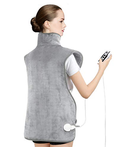 Heating Vest for Pain Relief, Yolife Extra Large Heating Pad for Back and Shoulder Pain, 6 Heat Settings Ultra-Soft Heat Pad, Auto-Off, 35'x 27' (Silver Grey)